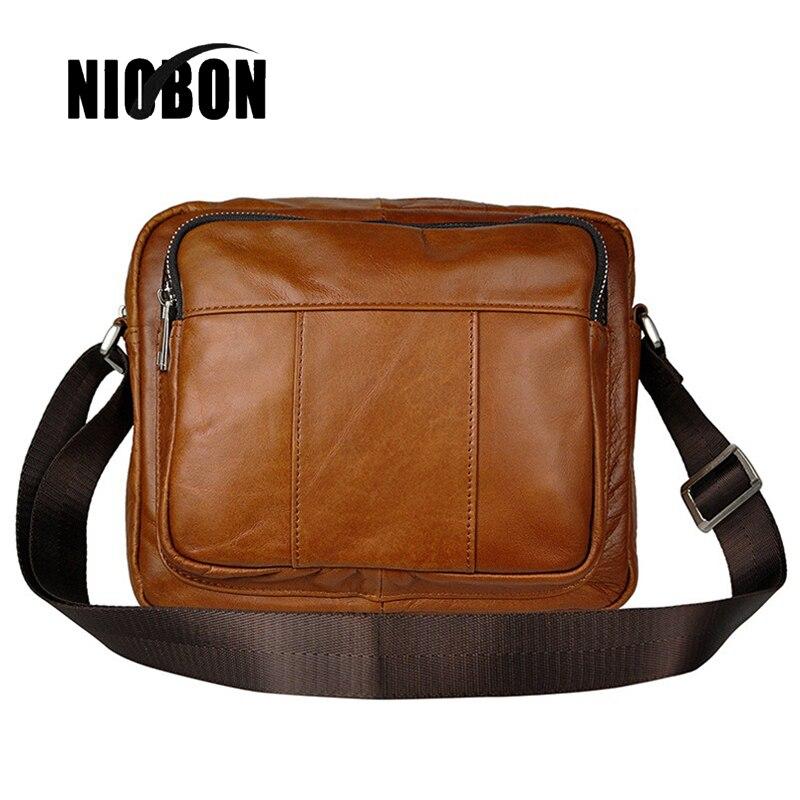 Niobon Wax Genuine Leather Bag Men Messenger Bags Casual Multifunction Shoulder Crossbody Bags Handbags iPad Holder Men Satchel цены онлайн