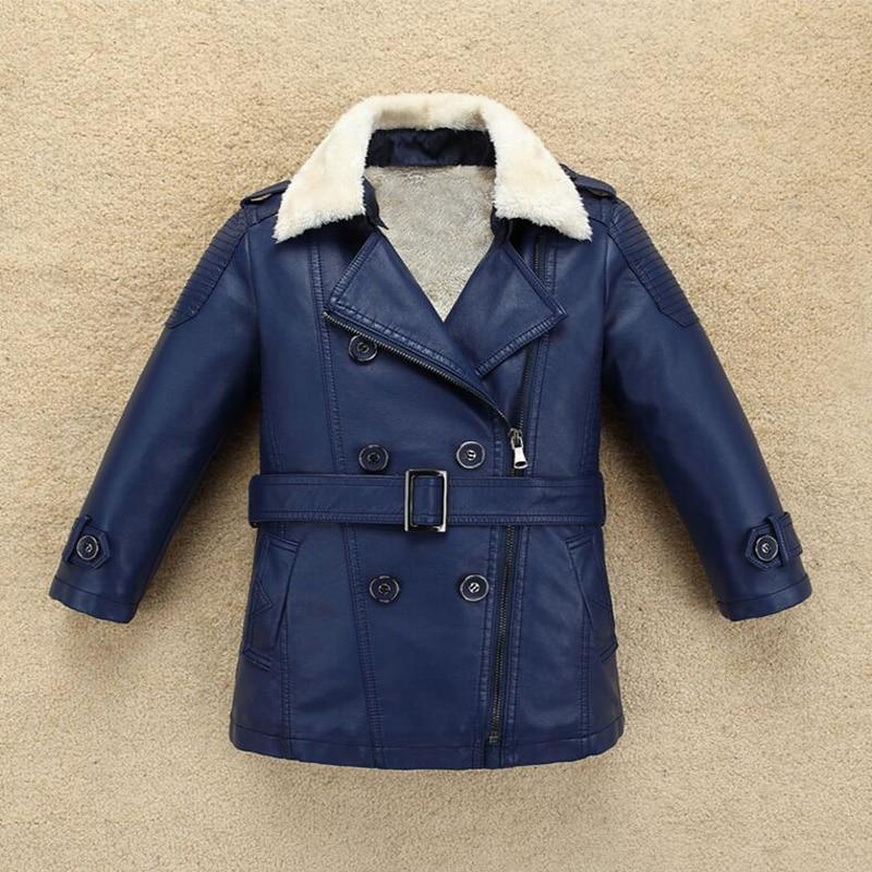 2018 Children's Puleather Boys Clothes Autumn & Winter Kids Leather Jacket Medium-Long Plus Velvet Thicken Boys jacket Hot Sale hot sale autumn baby boys