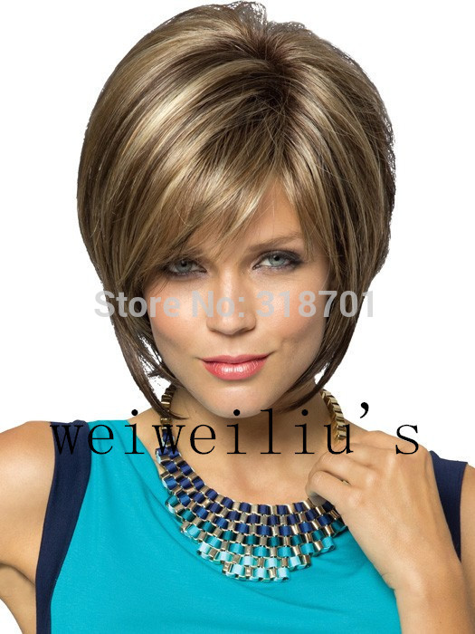 New Stylish Synthetic wigs Pixie cut wig Short Straight hair Brown with blonde Highlights wig for