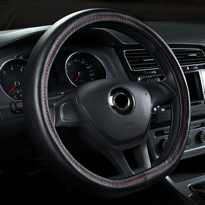 Car Steering Wheel Cover Leather D Ring black red line hole cover For Volkswagen VW Golf 7 GTi Mk7 Scirocco Sagitar Lavida Polo