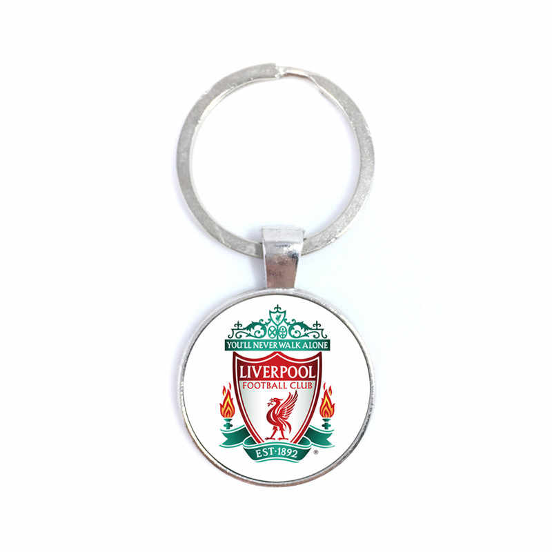 Liverpool Football Club 25mm Glass Cabochon KeyChain Football Team Logo Soccer Club Key Ring Holder For Fans Gift