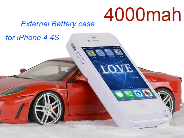 Newest High capacity 4000mAh Backup External Power case for iPhone 4s battery case for iPhone 4