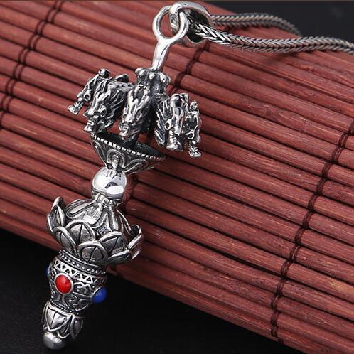 Handmade 100% 925 Silver Tibetan Dragon Pendant Necklace Pure Silver Power Dragon Pendant Necklace Lotus Amulet new 925 silver tibetan medcine buddha thangka pendant necklace pure silver tibetan medicine buddha necklace pendant