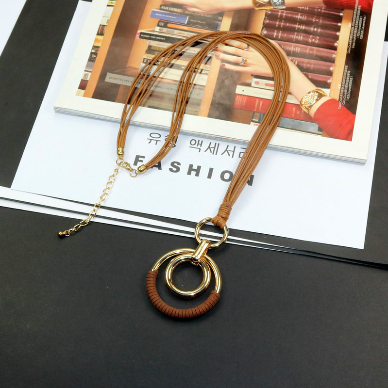 New Personality Woman Necklace Geometric Big Circle Pendant Rope Chain Necklace Fashion Jewelry Long Sweater Accessories fringe detail geometric print sweater