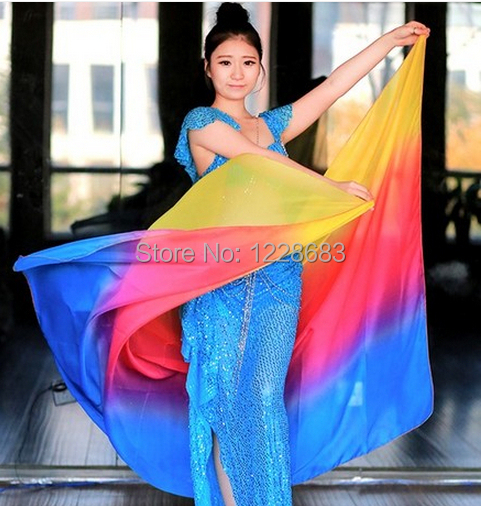 Free Shipping New 2014 High Quality Hand Tie Dyed Fade Color Dancing Veil Belly Dance, Bellydance Belly Dance Accessories