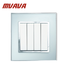 MVAVA 4 gang Push Button Wall Light Switch,Electrical 16A 250V wall switch,Luxury Arylic with zinc alloy Mirror Panel