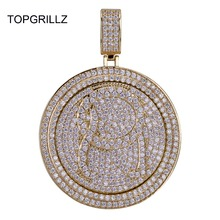 TOPGRILLZ QC Spinner 편지 펜던트 목걸이 Iced Out 힙합/펑크 골드 실버 체인 남성용 CZ Charms Jewelry Gift
