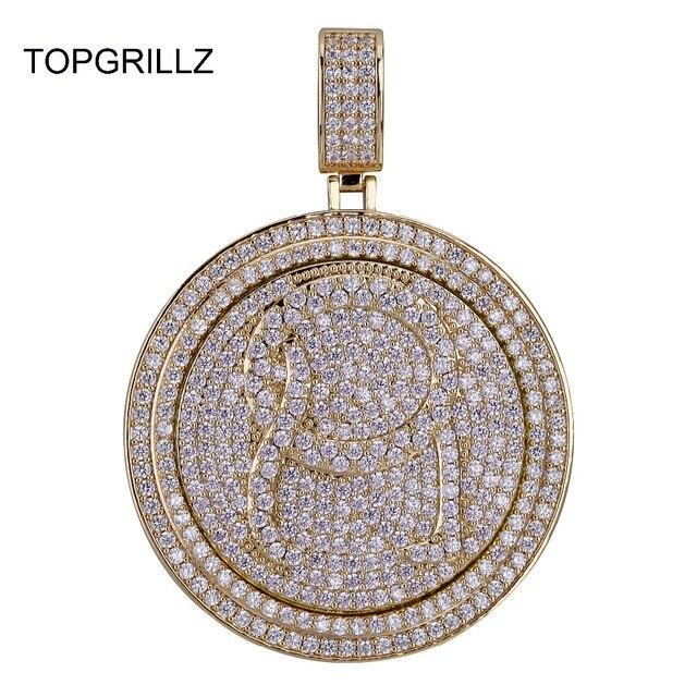 TOPGRILLZ QC Spinner mektup kolye kolye buzlu Out Hip Hop/Punk altın gümüş renk zincirleri CZ uğurlu takı hediye