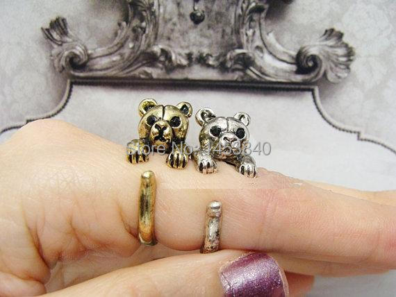 2015 Newest fashion Bear Ring animal ring Retro Little Bear Ring Adjustable Antique Silver/Bronze Animal Ring Jewelry Free Size