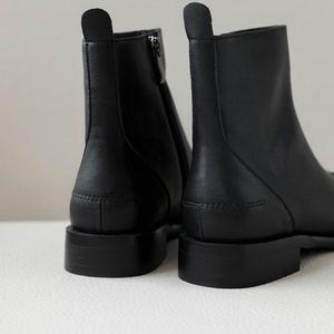 Image 2 - Allbitefo Thương Hiệu Thời Trang Da Thật Chính Hãng Da Thấp Gót Giày Bốt Nữ Phối Màu Cổ Chân Giày Cho Nữ Adies Giày Da Bò
