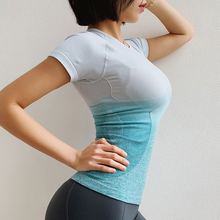 Summer Breathable Women Ombre Cropped Seamless Short Sleeve Top Crop Workout Fitness Shirts for Sports Tops Gym