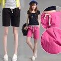 Новый джинсы женские черный красный эластичный пояс Большой размер летом шорты женщина Корейский жира ММ Тонкий хлопок стрейч брюки XL 3XL