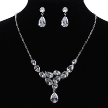 Sparkling Cubic Zirconia Crystal Tear Drop Necklace Earring Bridal Jewelry Set in White Gold Plated