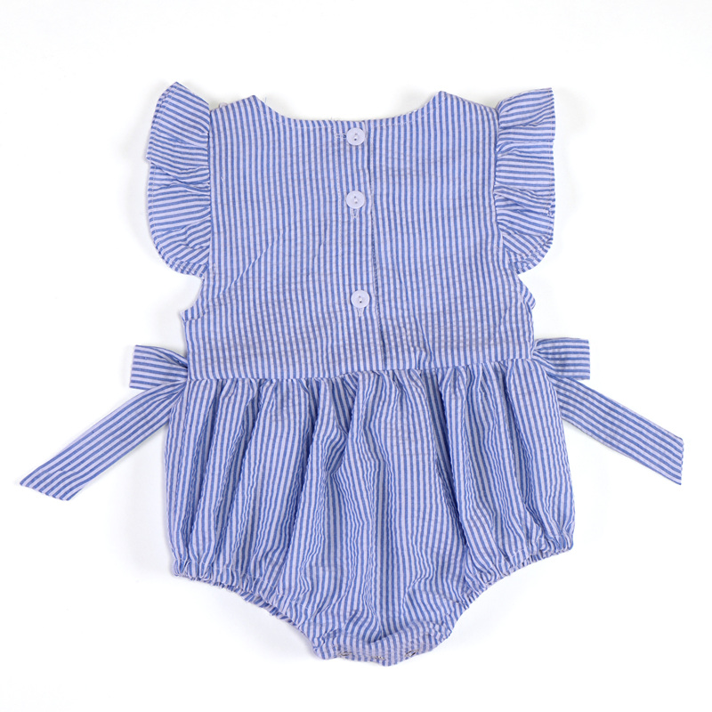 Summer Girls Bodysuit for Baby Striped Lace Newborns Clothes Flying Sleeve Infantil Jumpsuit Children Bodysuit Bow Clothing 2018