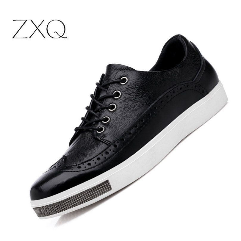 High Quality British Style Genuine Leather Men Shoes Retro Brogues Leather Oxford Shoes For Men Casual Dress Shoes zxq brand handmade new winter men oxford shoes solid color high quality retro british style men flats leather shoes