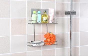 1 PC 2 capa de almacenamiento de cocina de Metal estante de pared Rack  Oganizer accesorios de baño bien 0713 fdafa50f6164