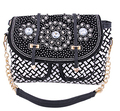 New spring summer  denim pu braided elegent diamonds clutch bag shoulder messenger bag