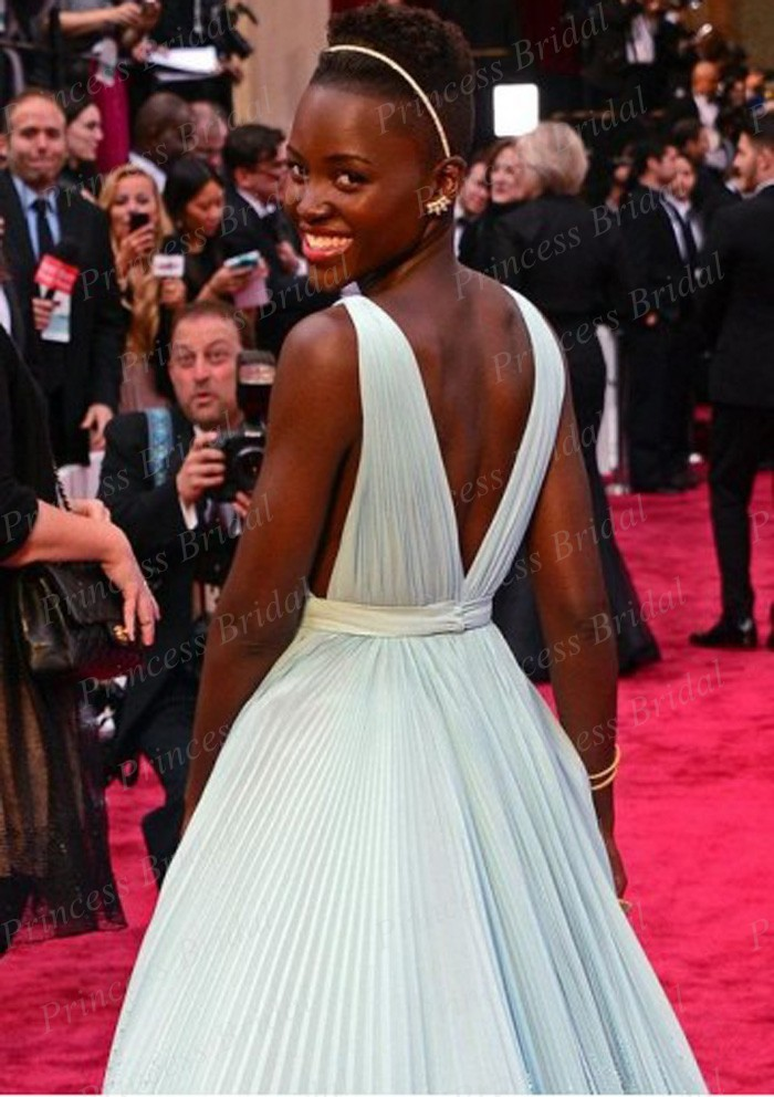 Free-Shipping-A-Line-Deep-V-Neck-V-Back-Lupita-Nyong-o-Light-Blue-Celebrity-Dress (4)