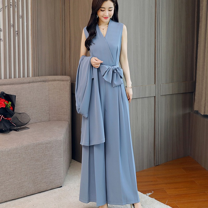 Elegant Women Belted Wide Leg Pants Jumpsuit Suit Office Party Long Coat Work Outfits Ladies Loose Fit Rompers Sets Conjunto