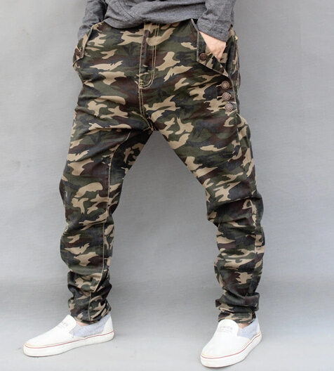 High Quality Hip Hop Camouflage Jeans Mens New Fashion Camo Harem Jeans Drop Crotch Pants Male Plus Size 4XL,5XL,6XL MB16124