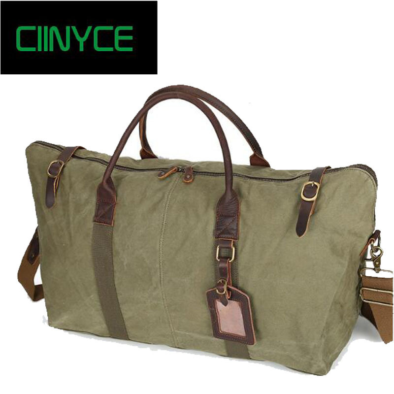 Retro men Canvas Carry On Weekend Vintage Military Khaki Shoulder Cow Leather Travel Tote Large Overnight Duffel Bag augur new canvas leather carry on luggage bags men travel bags men travel tote large capacity weekend bag overnight duffel bags