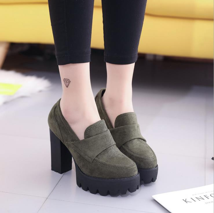 2018 autumn new women's single shoes Europe and the United States retro round head shallow mouth with high heels 3