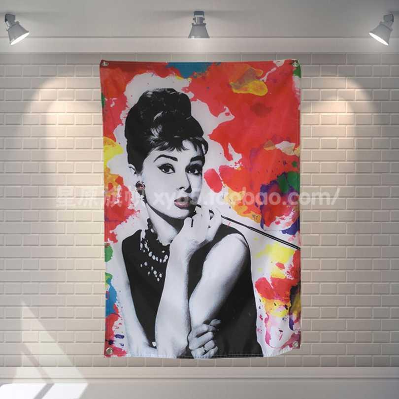 """Audrey Hepburn"" Classic Movies Poster Cloth Flag Banners Placard Bar Billiards Hall Studio Theme Wall Hanging Decoration"