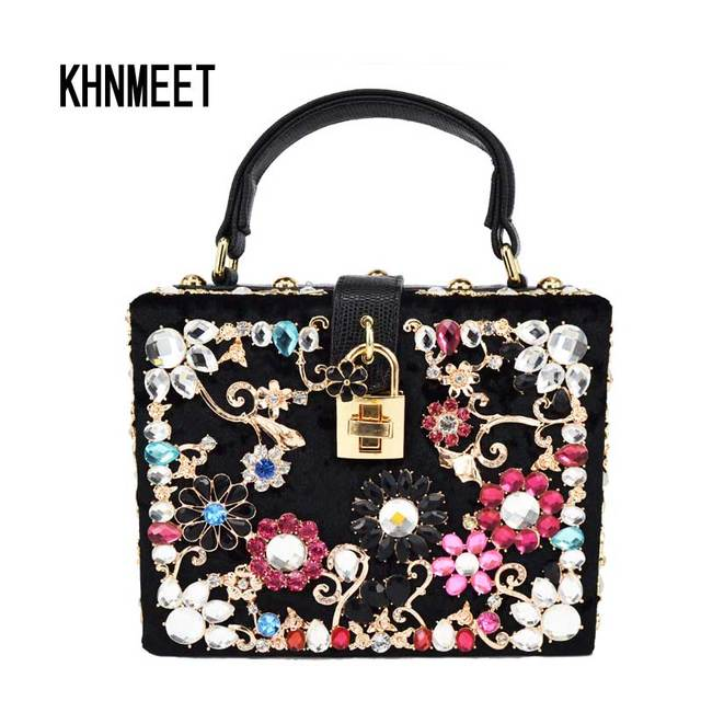 Fashion Diamond Evening bag Luxury diamond women handbag Ballot lock shoulder  bag messenger bag velvet clutch tote party purse be7c07e55f0f5
