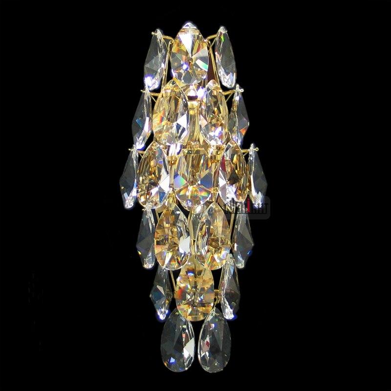 Hotel villa lobby crystal lamp Luxury golden crystal wall lamp cognac crystal wall lamp pearl black crystal wall lamp