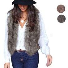 Free Ostrich fur Vest 2017 Casual Open Stitch V Neck Solid Fashion Faux Fur Coat Warm Short Winter Jacket Women PT