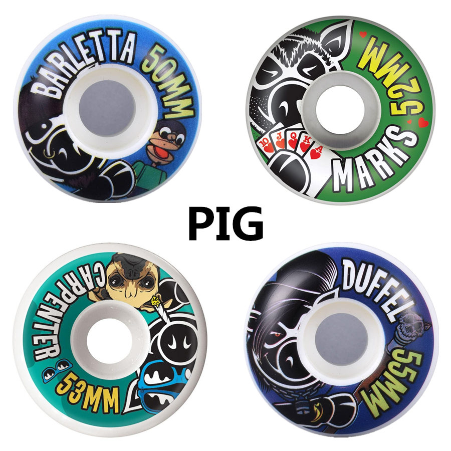 PIG/ELEMENT 4pcs /set Skateboard Wheels 51mm 52mm 53mm 54mm 55mm Resilient PU Double Rocker Wheels Skate Board Accessories