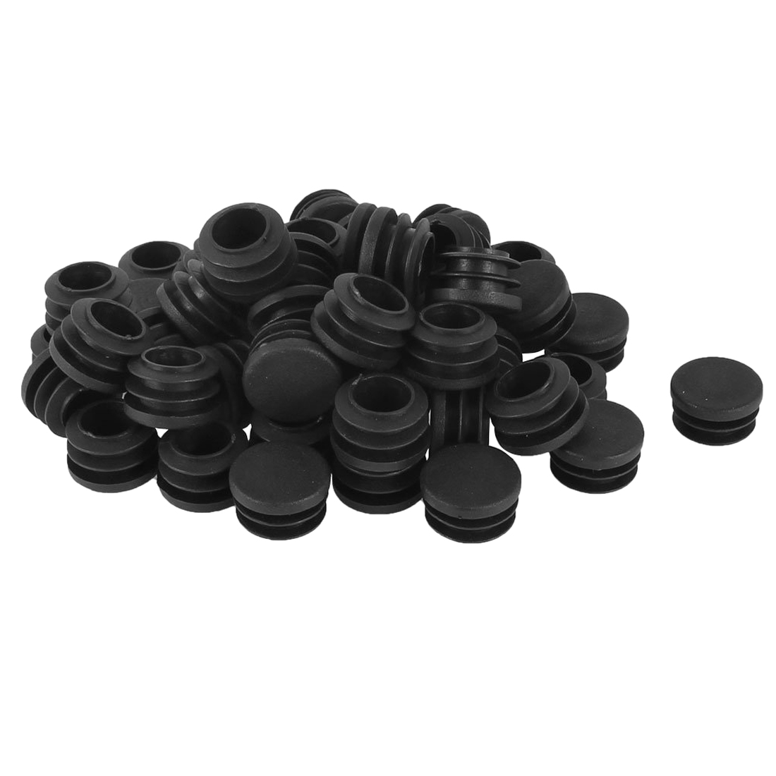 Plastic Round Cap Chair Table Legs Ribbed Tube Insert 22mm Dia 50 Pcs