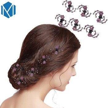 6Pcs Wedding Bridal Crystal Hairpins Women Flower Hair Claws Mini Barrettes Rhinestone Hair Clips Clamp Girls Hair Accessories