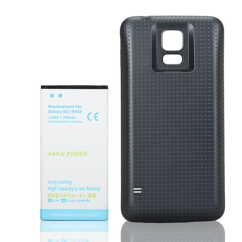 Para samsung galaxy s5 i9600 7000 mah substituição do telefone celular recarregável estendido backup li-ion bateria + azul capa traseira caso