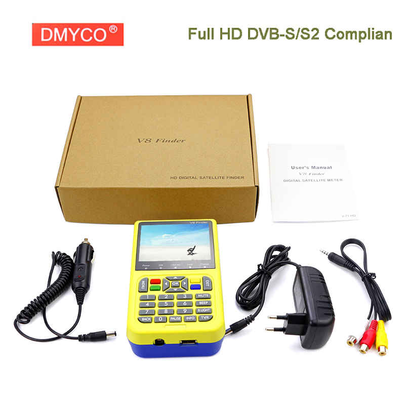 DMYCO V8 Finder HD DVB-S2 High Definition 3.5 inch LCD Screen Satellite Finder MPEG-2 MPEG-4 Gtmedia satellite Finder V8 original satlink ws6916 satellite finder dvb s2 mpeg 2 mpeg 4 ws 6916 high definition satellite meter tft lcd screen 3 5 inch