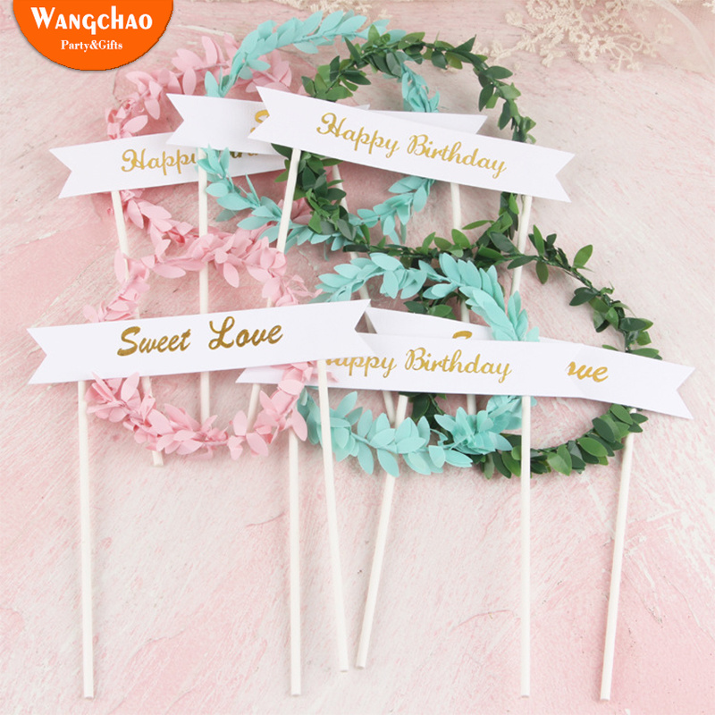 Kawaii Garland Leaves Cake Topper Boys Girls Baby Shower Sweet 16 Party Decorations Happy Birthday Toppers Supplies