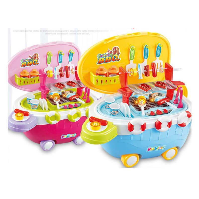 38pcs Plastic BBQ Grill Game Pretend Play Toy Baby Role Play Cookware Strolly Toy For Boy Girl Gift(China)