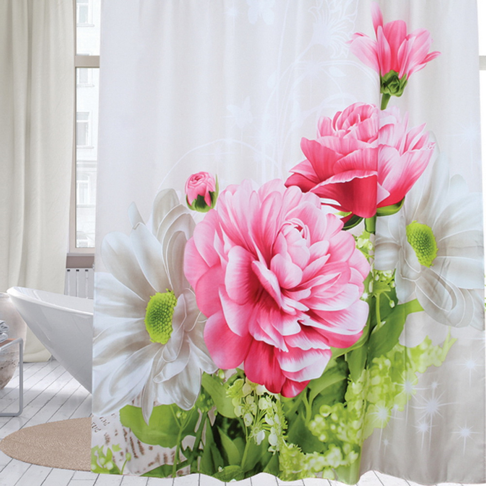 A Bunch Of Rose Striped Shower Curtain Hooks Waterproof Fabric Bathroom Mat