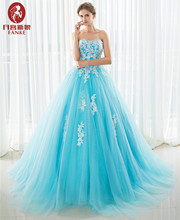 Elegant Blue Quinceanera Dresses Ball Gown Sreapless Beaded Lace Tulle Vestidos De 15 Anos Sweet 16 Debutante Gowns