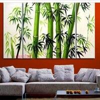 Garantiert 100% Neue MODERNE ABSTRAKTE Wand-dekor-ölgemälde Bambus 3 teile/satz Landschaft Green View-baum Bild Auf Leinwand Malerei