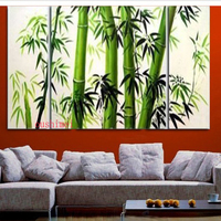 Guaranteed 100% New MODERN ABSTRACT WALL DECOR Oil Painting Bamboo 3pcs/set Landscape Green View Tree Picture On Canvas Painting