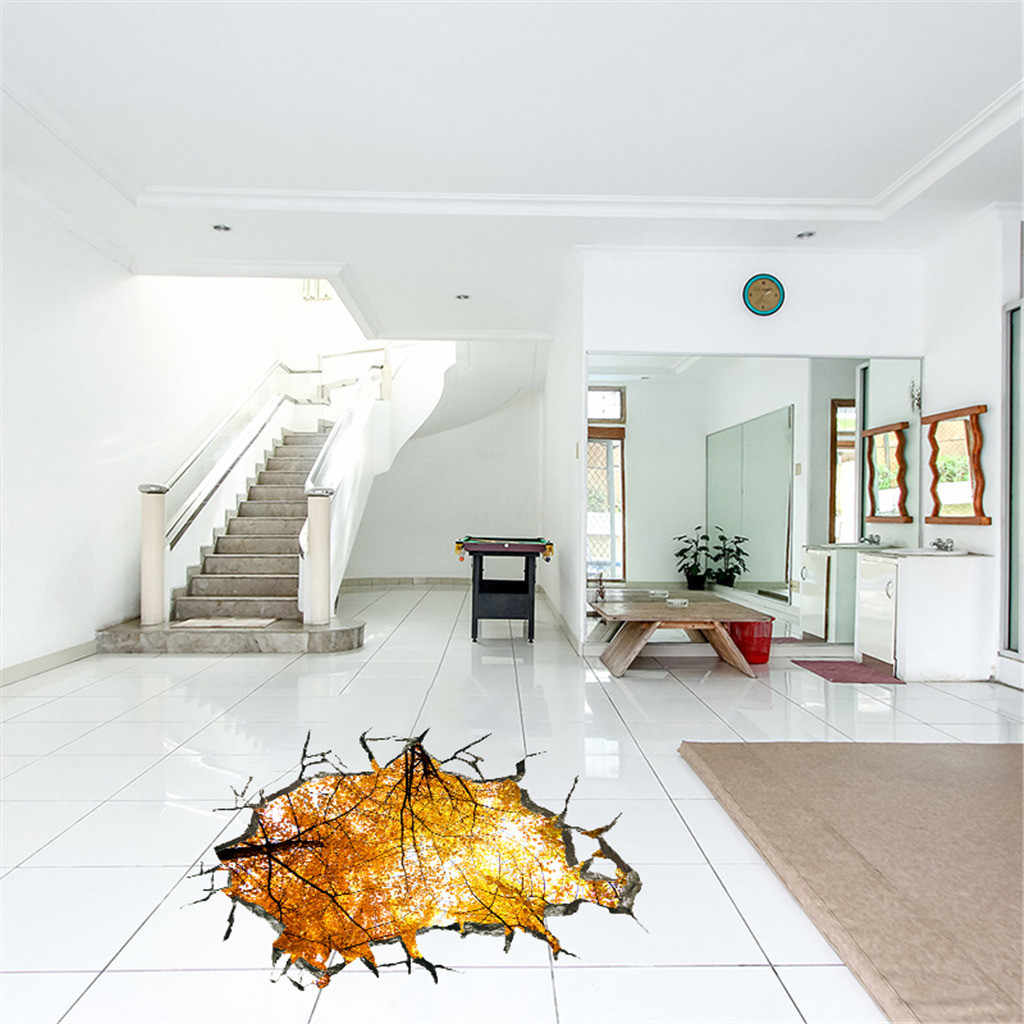 Nature Autumn Trees View 3D Broken Wall Family Home Wall Sticker PVC Wallpaper Decal For Living Room Floor Ceiling Decoration