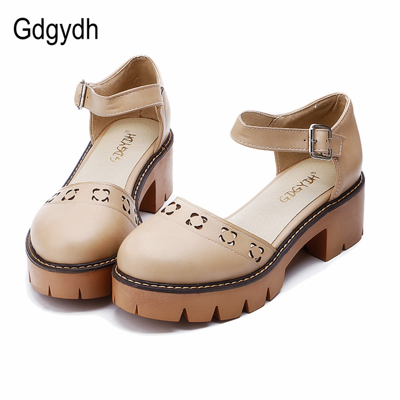 Gdgydh Hot Sales 2017 Summer Women Sandals Round Toe Cut outs Shallow Mouth Female Square High
