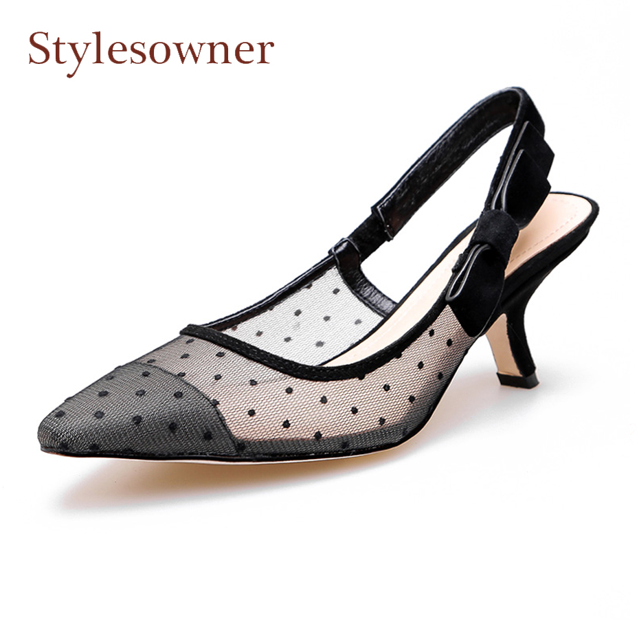 Stylesowner bowtie back strap breathable polka dot mesh women shoes sexy pointed toe thin heel slingback ladies party dress shoe knot back polka dot wrap top