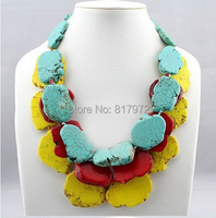 Hot Sale Special Design Handmade Gift stone Slice Red Yellow Colors Mixed Necklace Exaggerated Necklace 3 Layer Jewelry