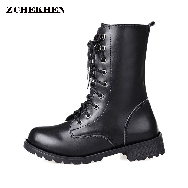 Plus Size 42 for Women Lace Up Martin Boots Round Toe PU Leather Boots Shoes Ladies Combat Military Ankle Motorcycle Boots pu plain round toe martin boots