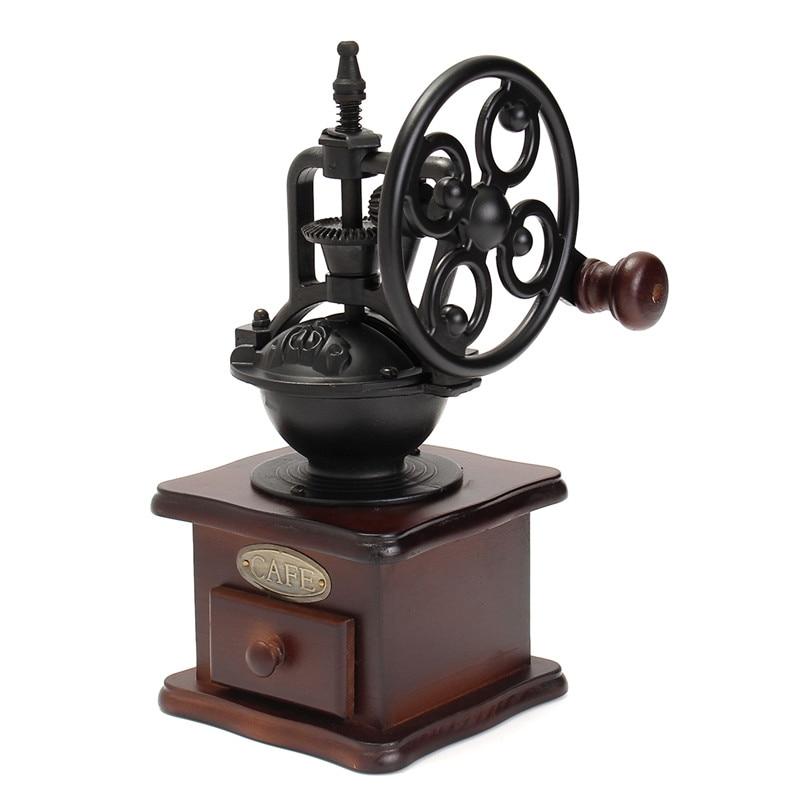 Ferris Wheel Design Vintage Manual Coffee Grinder With Ceramic Movement Retro Wooden Coffee Mill Coffee Bean