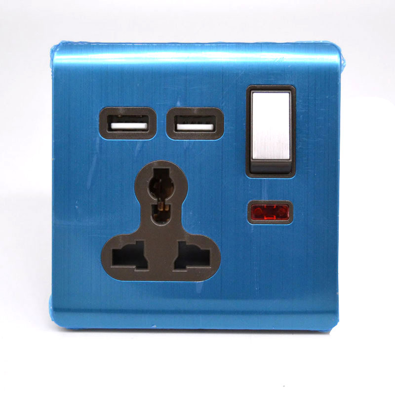 universal wall socket 13A with switch double USB socket stainless ...