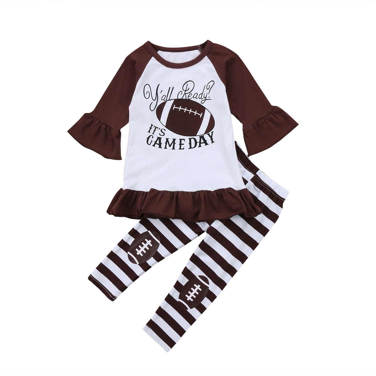 Fashion Toddler Kids Baby Girl Dress Rugby Tops+ Striped Pants 2pcs Clothes Set Outfit