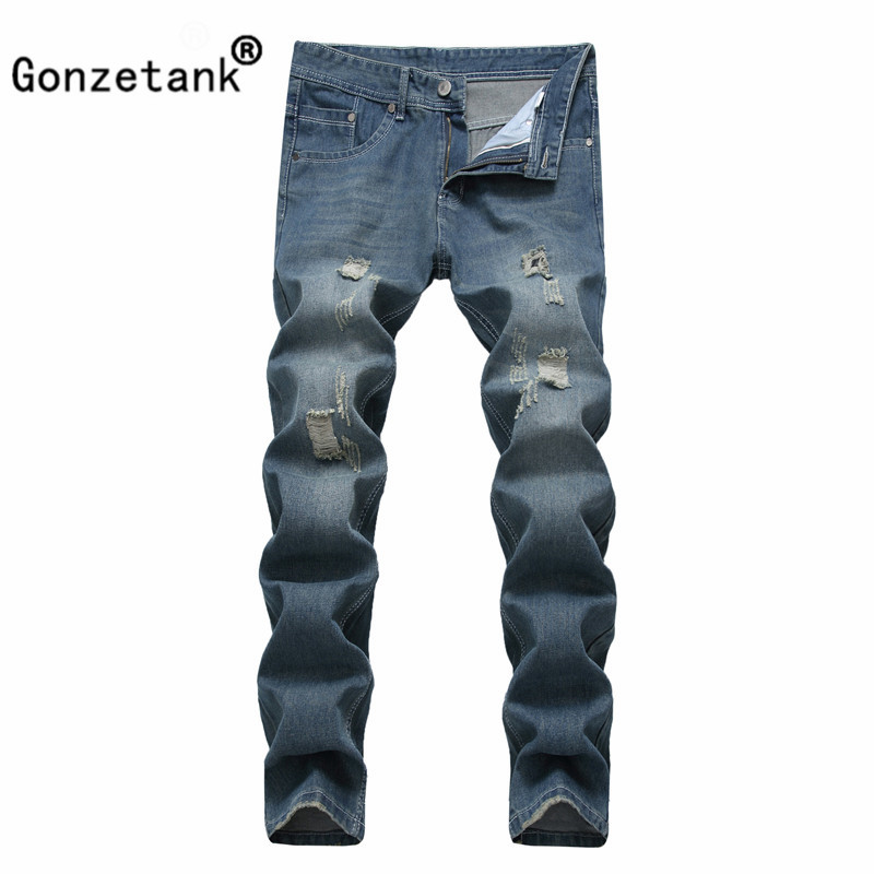 Gonzetank 2017 Light blue Broken Jeans for Men Classical and Straight Boyfriend Narrow Slim Fit Middle Waisted Size 28~42